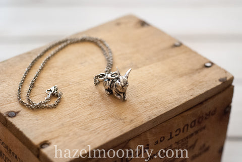 Antiqued Silver Bunny Necklace