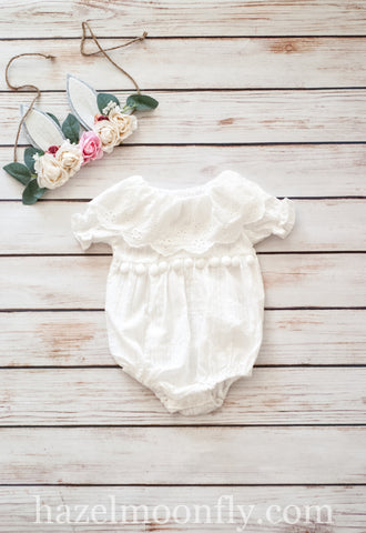 Joesphina Linen Romper (Sizes 3/6 months-24/36 months)