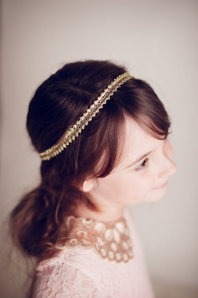 Dainty Golden Lace Headband - Hazelmoonfly - 1
