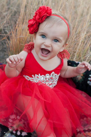 Charlotte Red Tutu Dress with Rhinestone Sash