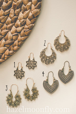 Antiqued Gold Boho Earrings