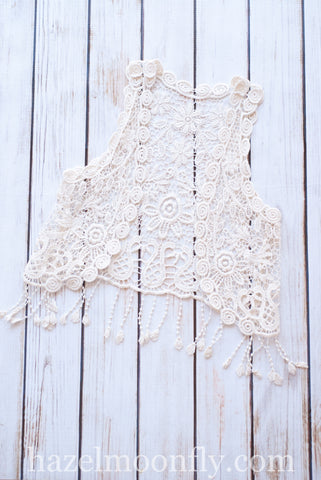 Indy Crochet Vest in Beige