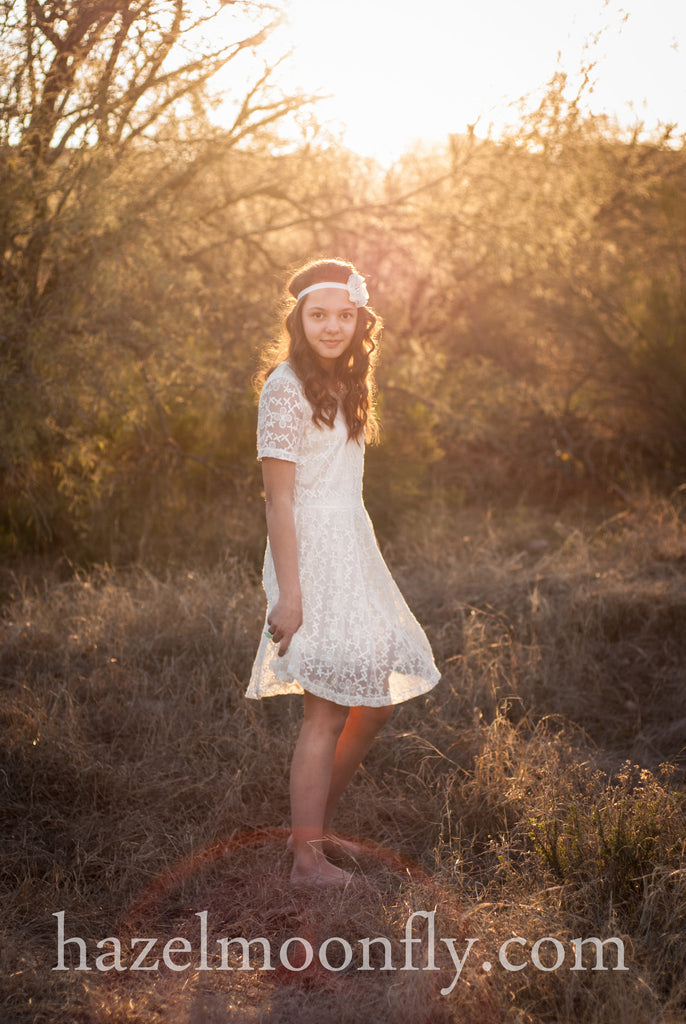 Ashleigh Ivory Lace Dress With Hand-Beaded Peter Pan Collar - Hazelmoonfly - 5