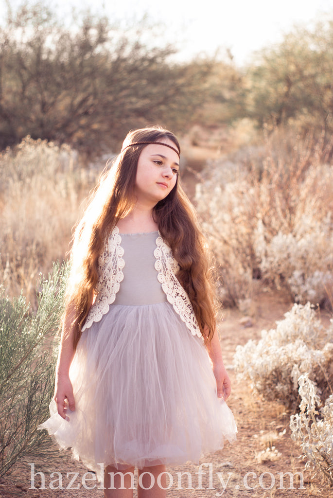 Luna Stone Colored Knit and Tulle Tutu Dress