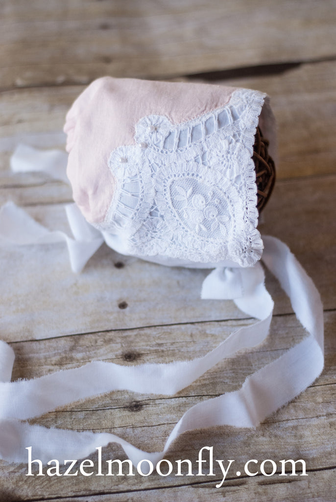Henrietta Antique Blush Hanky Newborn Bonnet - Hazelmoonfly - 1