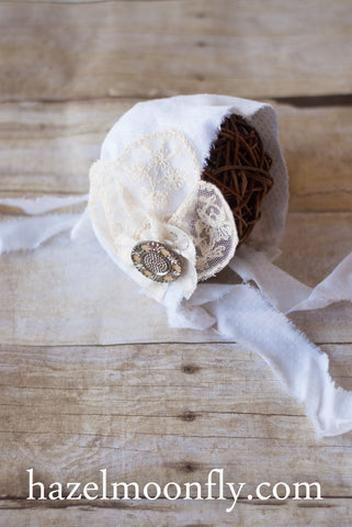 Belle White and Cream Polka Dot Rustic Bonnet with Antique Button Accent