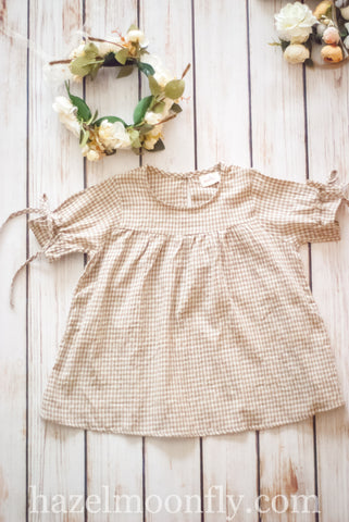 Lillith Tan and Cream Gingham Tunic