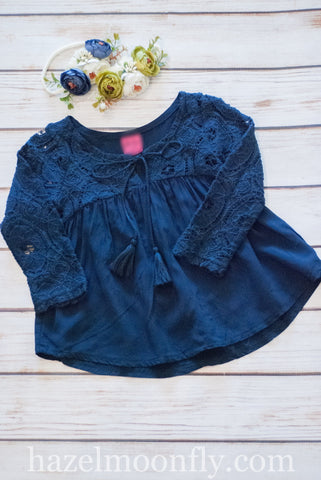 Eliza Navy Lace Boho Top (Up to Size 14/16)