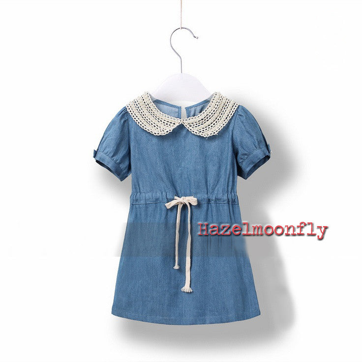 Matilda Dainty Denim Country Dress with Lace and Pearl Collar - Hazelmoonfly - 1