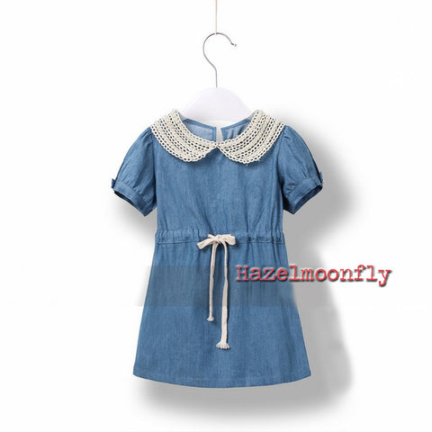 Matilda Dainty Denim Country Dress with Lace and Pearl Collar