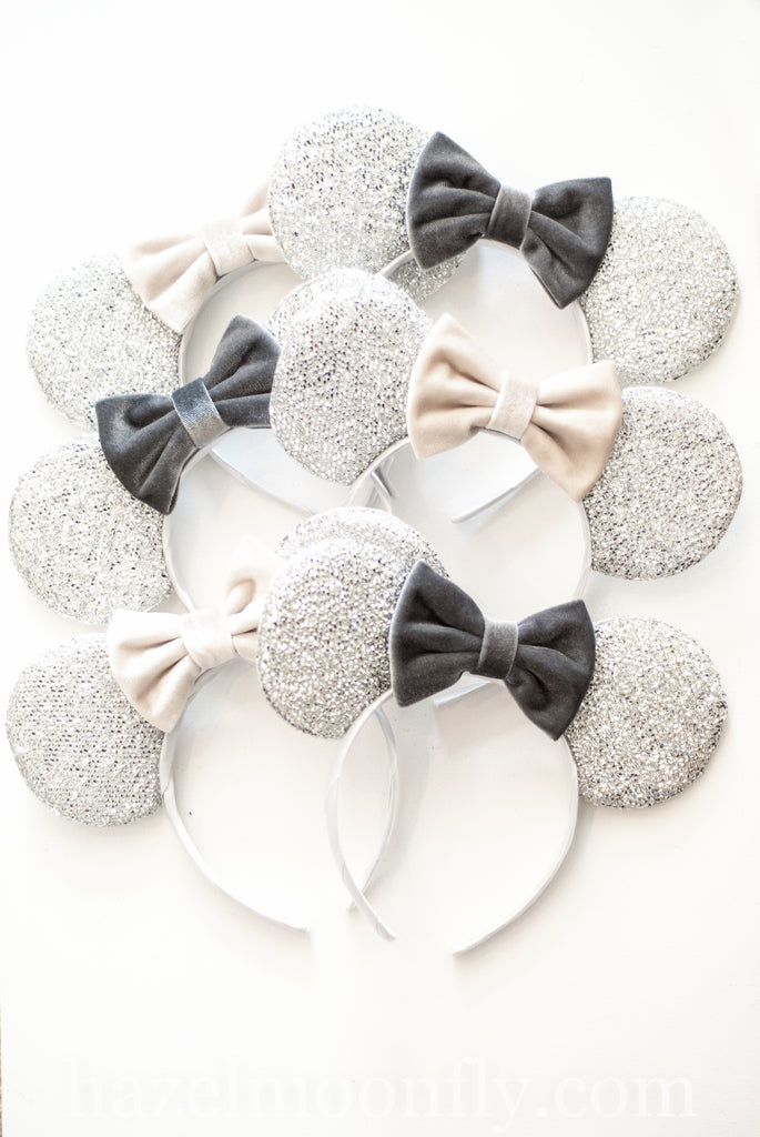 Silver Mouse Ears with Velvet Bow