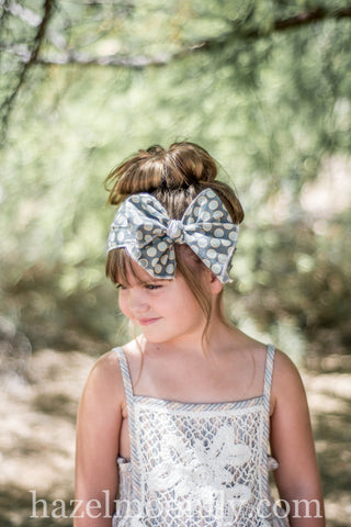 Addy Blue Dot Boho Headwrap