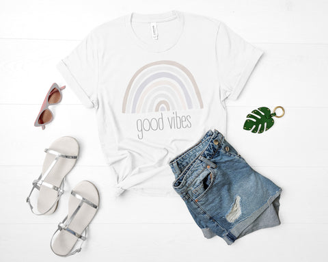 Good Vibes Boho Rainbow T Shirt (Available in 7 Colors!)