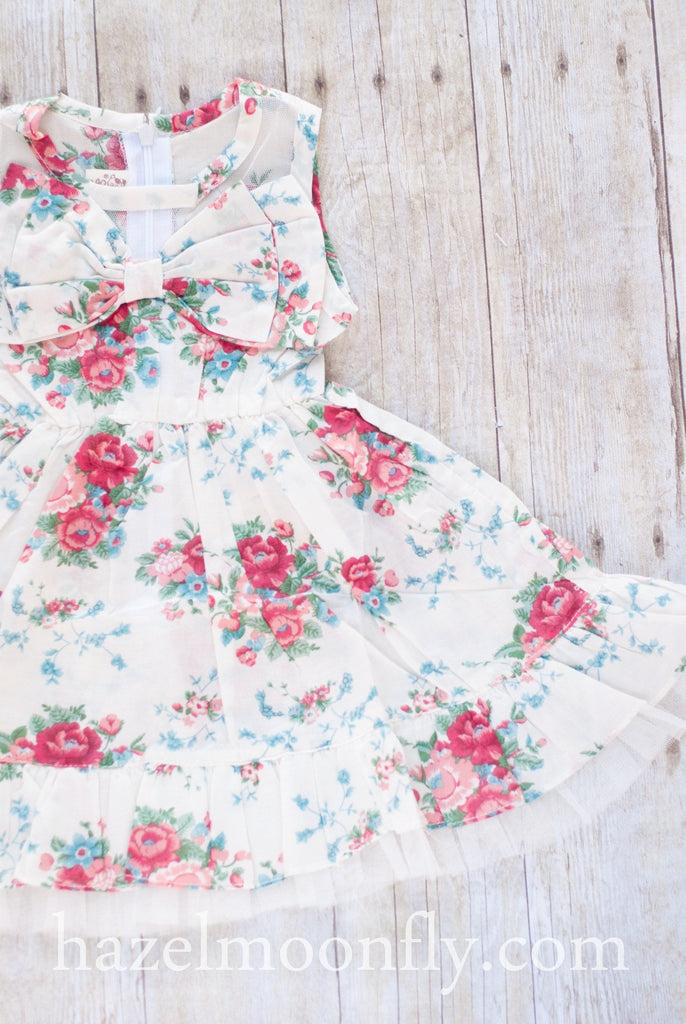 Jillian Vintage Floral Dress - Hazelmoonfly - 1