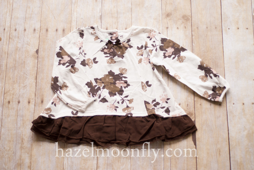 Leona Chocolate Brown and Blush Floral Tunic - Hazelmoonfly