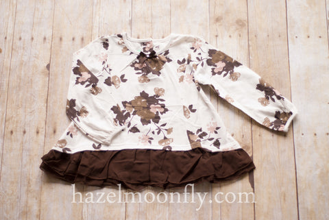 Leona Chocolate Brown and Blush Floral Tunic