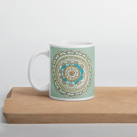 Mandala Mug of Peace (green) 11oz or 15oz