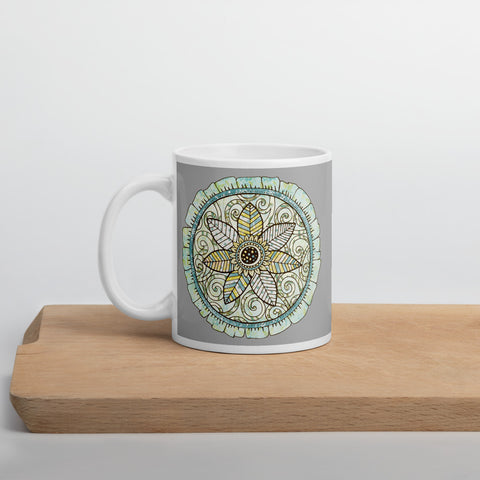 Mandala Mug if Happiness (Grey) 11oz or 15oz