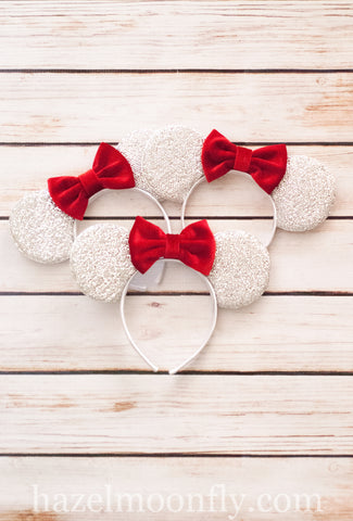 RED Silver Mouse Ears with Velvet Bow