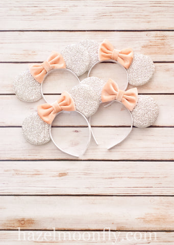 NEW COLORS! Silver Mouse Ears with Peach Blush Velvet Bow