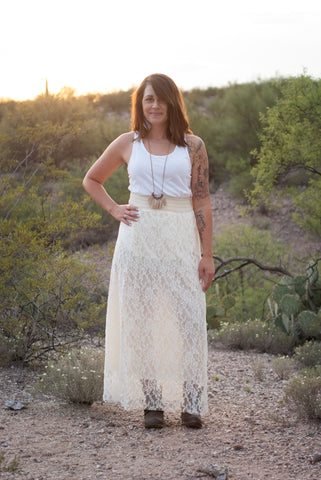 Lillith Beige Lace Long Skirt