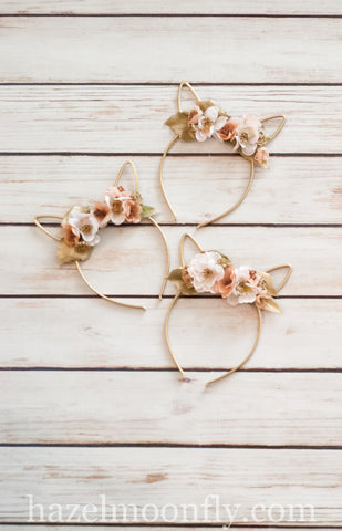 Gold Floral Bunny Ears (Gold and Blush)