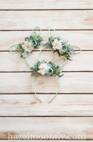 Pastel Floral Bunny Ears (Sage Green)