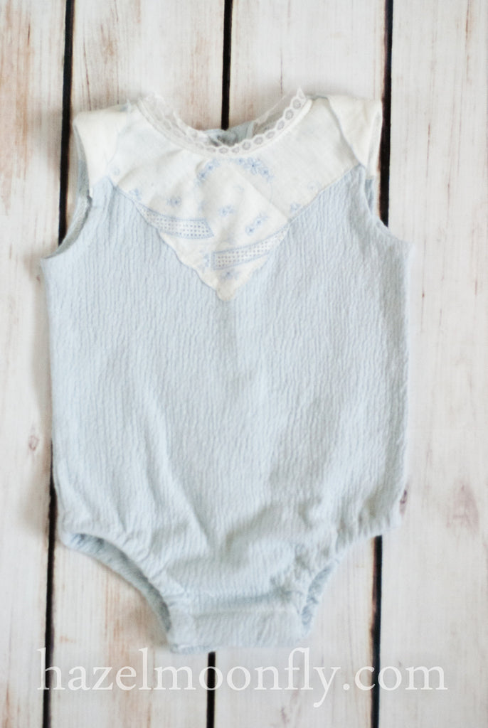 Delina Newborn Knit Romper with Antique Details - Hazelmoonfly - 1