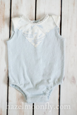 Delina Newborn Knit Romper with Antique Details