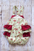 Betty Green and Red Cabbage Rose Shabby Chic Ruffle Bottom Romper - Hazelmoonfly - 3