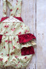 Betty Green and Red Cabbage Rose Shabby Chic Ruffle Bottom Romper - Hazelmoonfly - 4
