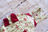 Betty Green and Red Cabbage Rose Shabby Chic Ruffle Bottom Romper - Hazelmoonfly - 2