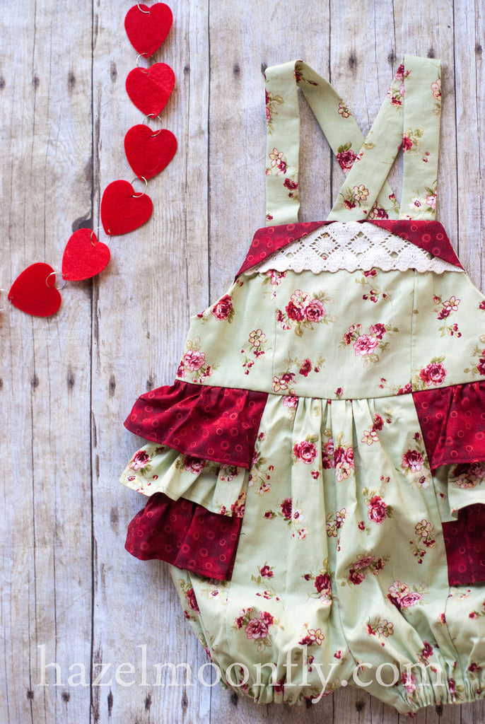 Betty Green and Red Cabbage Rose Shabby Chic Ruffle Bottom Romper - Hazelmoonfly - 1