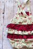 Betty Green and Red Cabbage Rose Shabby Chic Ruffle Bottom Romper - Hazelmoonfly - 5