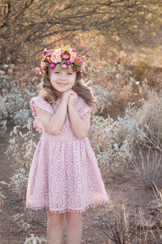 Jenna Mauve Lace Dress with Pom Pom Trim *Size 2-5*