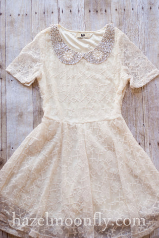Ashleigh Ivory Lace Dress With Hand-Beaded Peter Pan Collar