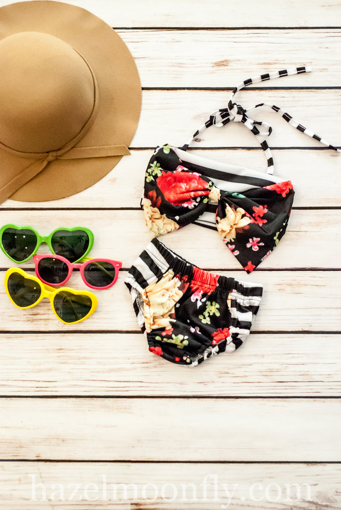 Fiona Floral and Stripe Bikini Set