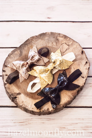 Goldie Glitter Bow Headband