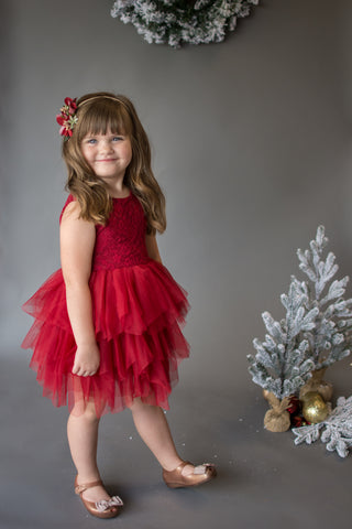 Poinsettia Deep Red Lace Tutu Dress with Sash