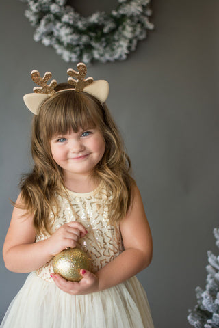Clarice Golden Antler Ear Headband