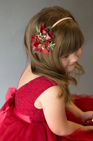 Demelza Deep Red and Gold Floral Headband