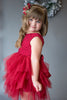 Deep Red Lace Tutu Dress with Sash