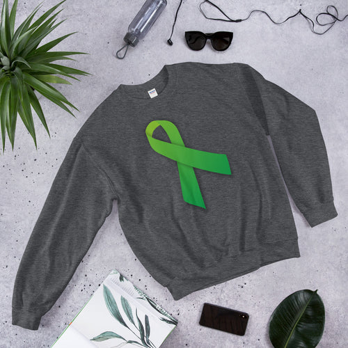 Unisex Sweatshirt Green Ribbon for Mental Health Awareness