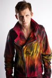 James Kennedy model Vanderpump rules fashion Faith Connexion Patricia Field Jean Paul Gaultier Libertine Clothing Bohemian Society painted bomber jacket painted dyed jeans design nuclear jacket