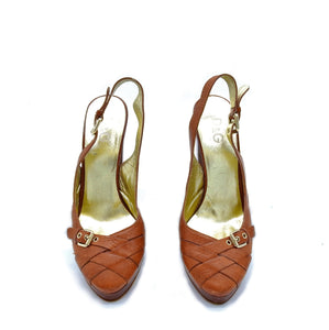 Dark tan stacked heel sandal, Size 38.5