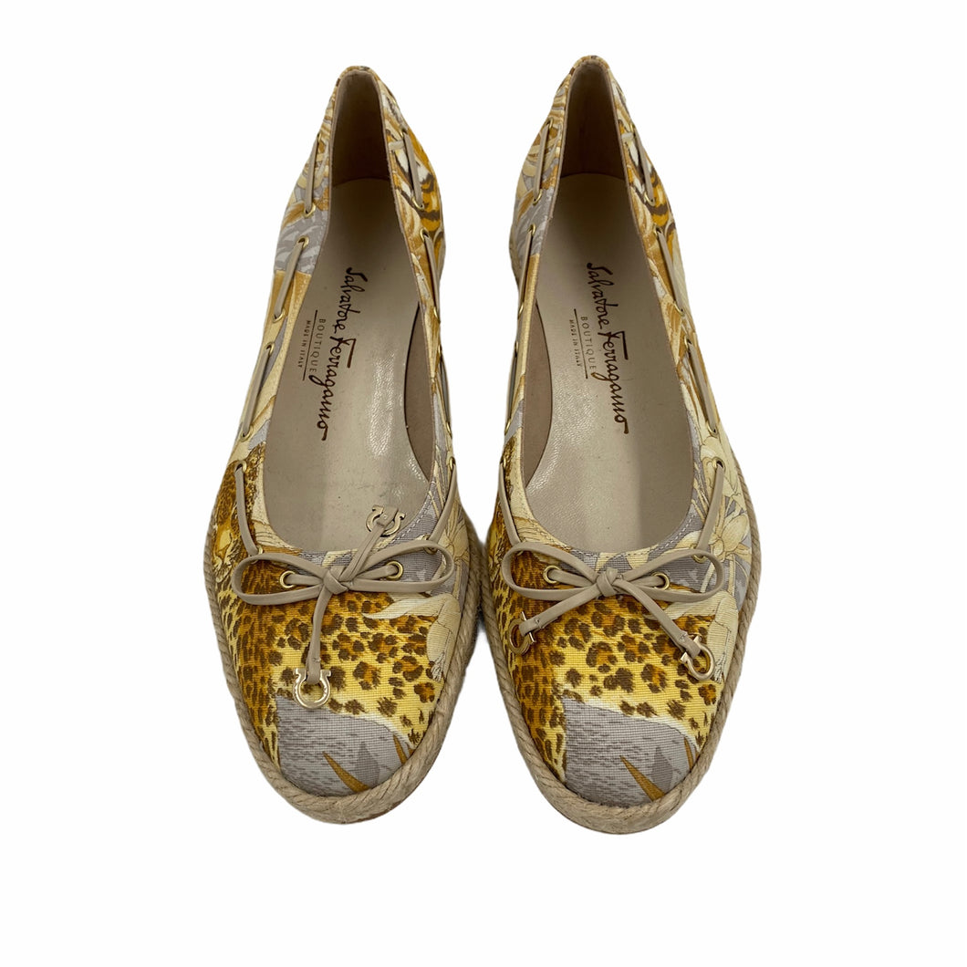 Leopard and Floral Print Flats <br /> Size: 7B