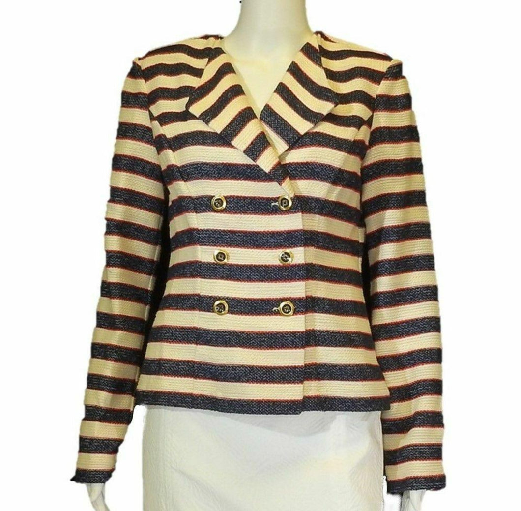 Striped Double Breasted Jacket <br /> Size: 2