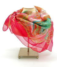 Load image into Gallery viewer, Semi-sheer red silk scarf