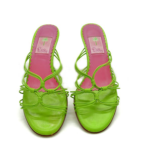 Bright Green Leather Mule <br /> Size: 9.5