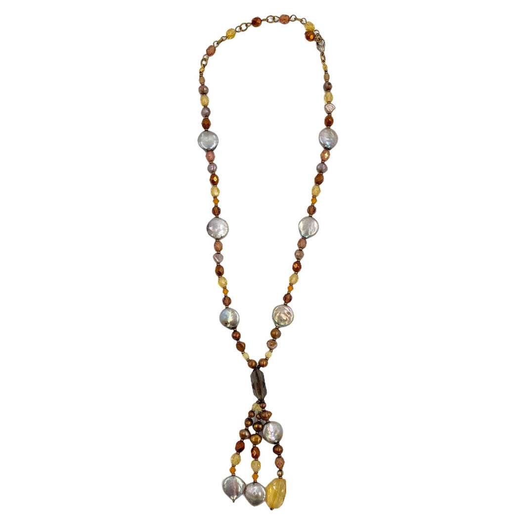 Pearl and Bead Lariat Necklace